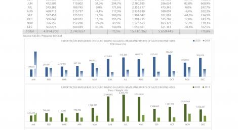 Exportações Brasileiras de couro bovino salgado
